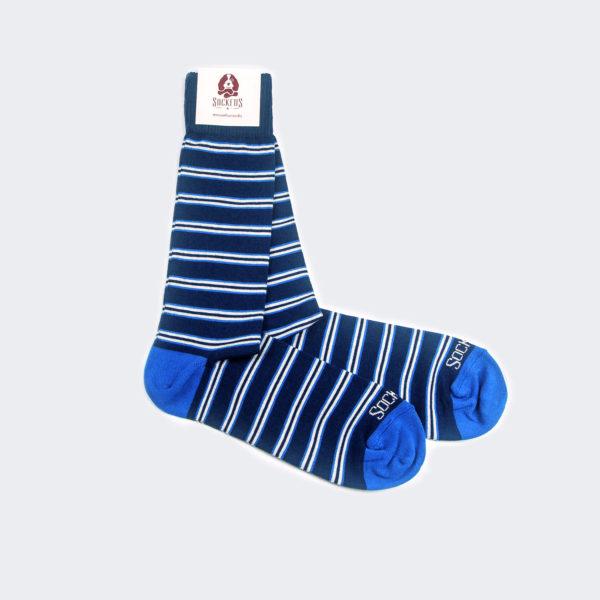 Calcetines-Algodon-peinado-Azul-Raya-Doble1
